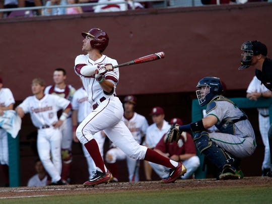 FSU's Jackson Lueck makes contact with a pitch during