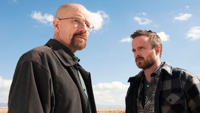 Bryan Cranston, left, and Aaron Paul in a scene from 'Breaking Bad.'