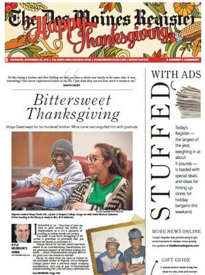 The Thanksgiving edition of The Des Moines Register
