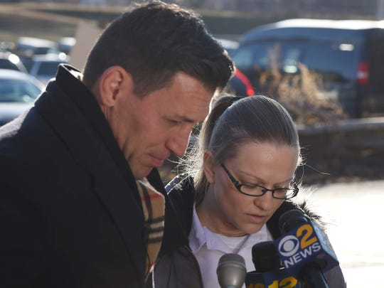 Angelika Graswald with her lawyer, Richard Portale, outside the Bedford Hills women's prison as he makes a statement to the media.