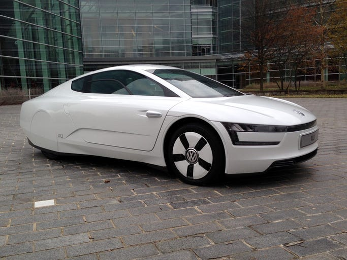 The test Volkswagen XL1 at USA TODAY.XL1 is a limited-production, very light two-seater that VW is building to prove it's possible to get 200-plus mpg in a street-worthy car.