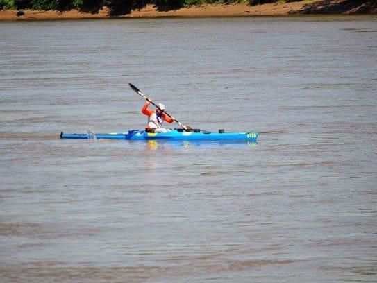 Hollister paddler Brad Daniels on his way to winning