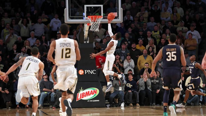 Georgia Tech Yellow Jackets guard Josh Okogie makes the game-winning basket against No. 12 Notre Dame.