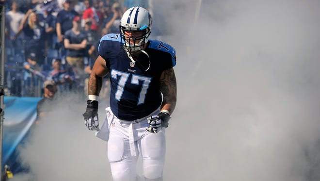 Titans tackle Taylor Lewan played in 11 games with six starts as a rookie last season.
