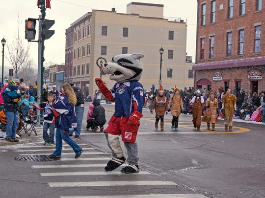 Blade, the Elmira Jackals mascot, will greet the crowds again during this year's Downtown Elmira Holiday Parade on Nov. 28.