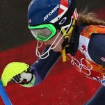 Vail's Mikaela Shiffrin skis past a gate during the women's slalom at the Sochi 2014 Winter Olympics on Friday.