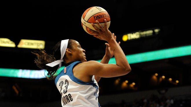 Minnesota Lynx forward Maya Moore (23) shoots in the first quarter against the Phoenix Mercury in game one of the WNBA conference finals at Target Center.