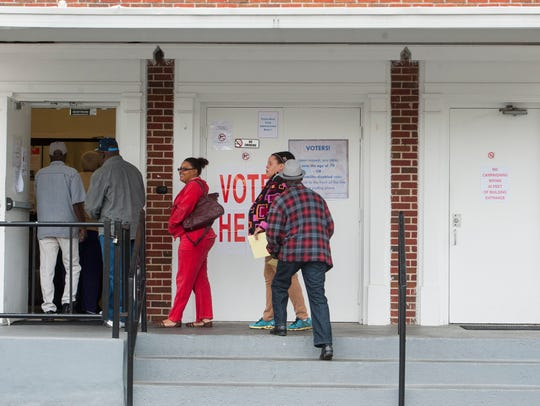 Voters go to the polls at Beulah Baptist Church in