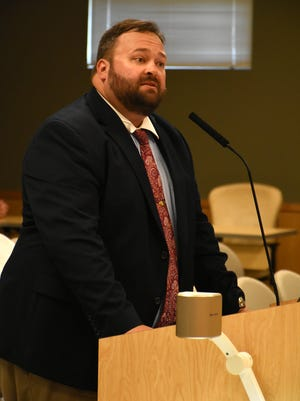 Marco Island city manager candidate Joshua Gruber speaks to the Marco Island City Council Wednesday, July 20, 2017. In a 3-4 vote, council opted not to hire Gruber, the sole remaining contender for the position.