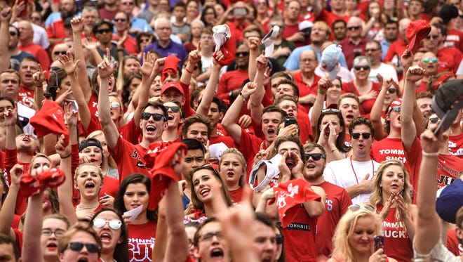 St. John's fans cheer after a touchdown in the first half of the Saturday, Sept. 23, game at Target Field in Minneapolis.
