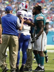 Aaron Williams last appearance for the Bills was in this game at Miami. He injured his neck and missed the rest of the season.