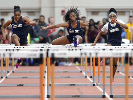 Gates Chili's Indya Richards, center, during the 2017 Section V Class A/B Winter Track & Field Championships.
