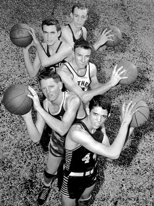 March 20, 1951 - These players make up the All-Shelby County basketball team announced by The Commercial Appeal in March 1951. The team includes, from top to bottom: Collierville center Ralph Scruggs, Germantown forward Bill Gary, Bartlett guard David Kime, Bolton forward Frank Lowe and Collierville guard Vance Byrd.