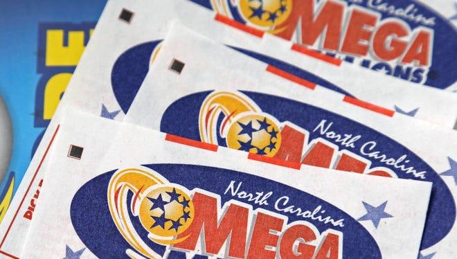Mega Millions lottery tickets.