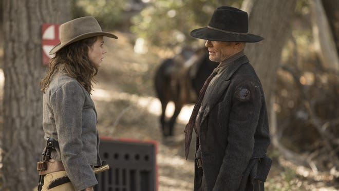 In Sunday's 'Westworld' Season 2 finale, Man In Black/William (Ed Harris), right, and daughter Emily (Katja Herbers) meet under much different circumstances than they did in this scene from the June 17 episode.