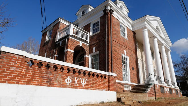 This Nov. 24, 2014, file photo shows the Phi Kappa Psi fraternity house  at the University of Virginia in Charlottesville, Va.