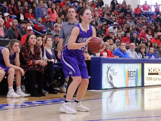 Wylie senior guard Lauren Fulenwider (25) sets to take a 3-pointer during the Lady Bulldogs' 44-41 loss to Denver City in the Region I-4A championship game at the Lubbock Christian University Rip Griffin Center on Saturday, Feb. 24, 2018.