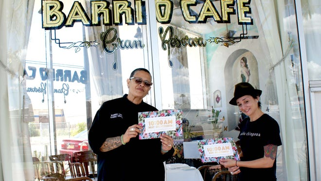 Chef Silvana Salcido Esparza and partner Wendy Gruber outside their newest restaurant, Barrio Cafe Gran Reserva, in Phoenix.