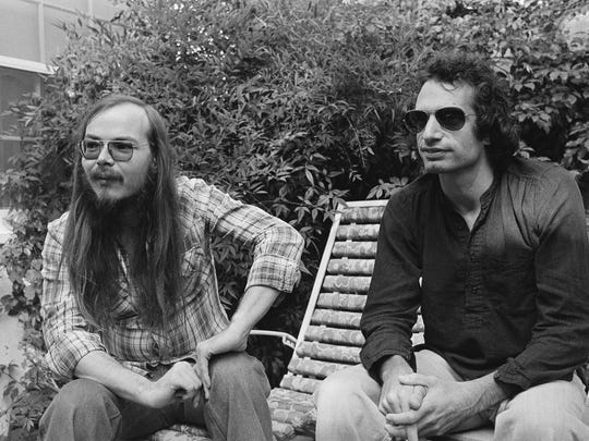 In this Oct. 29, 1977, photo, Walter Becker, left, and Donald Fagen of Steely Dan sit in Los Angeles.