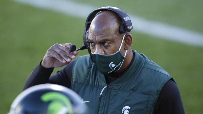 Michigan State coach Mel Tucker looks on during the first quarter of an NCAA college football game against Northwestern, Saturday, Nov. 28, 2020, in East Lansing, Mich.