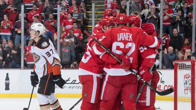Anaheim left wing Nick Ritchie skates away as the Red Wings celebrate a goal by Frans Nielsen in the third period.