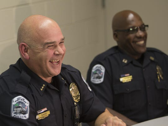Interim Fort Myers Police Chief Dennis Eads has fun with the media while answeing questions about his new job on Monday 8/24/2015. Eads replaced Doug Baker, who was fired by city manager Billy Mitchell.
