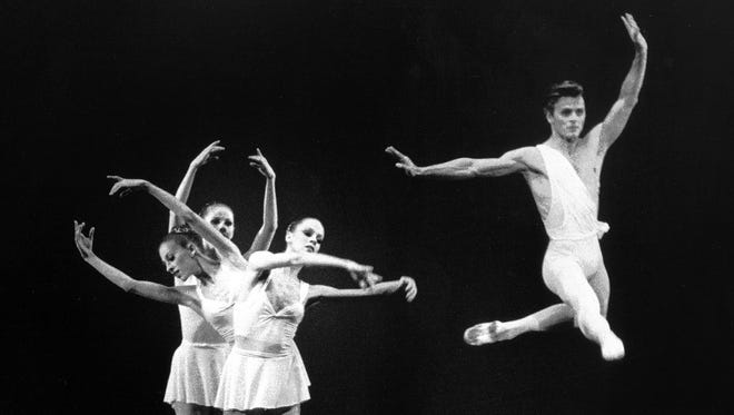 Mikhail Baryshnikov takes to the air in Ballet Company's Apollo with Heather Watts, Kyra Nichols and Judith Fugate on October 30, 1979. The benefit performance at The Auditorium's Dixon-Myers Hall played to virtually a full house at the 4,361 seat venue.