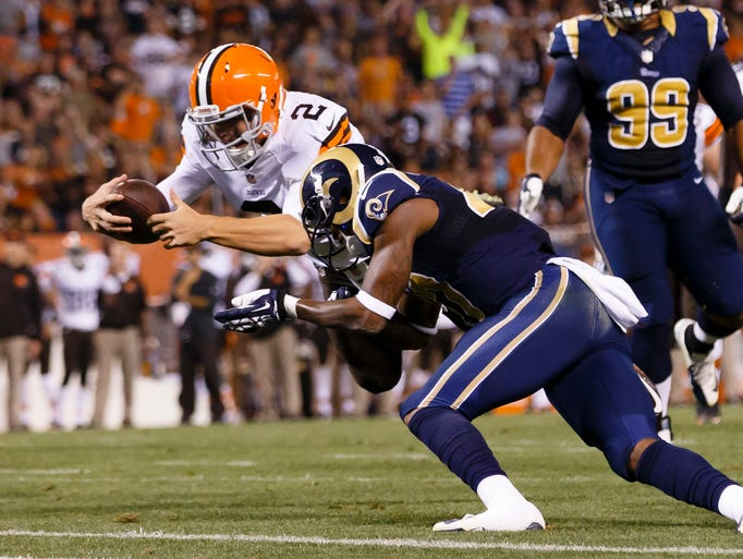 Johnny Manziel scored his first touchdown of the preseason on a 7-yard run on Aug. 23 against the Rams.