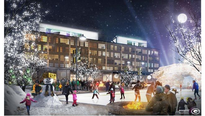 An artist's rendering shows the Titletown District public plaza with ice skating rink and Lodge Kohler in the background.