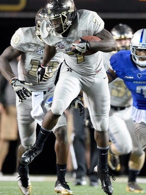 Vanderbilt running back Ralph Webb (7) rushed for 211 yards and two TDs on 29 carries in a 47-24 win over MTSU last season.