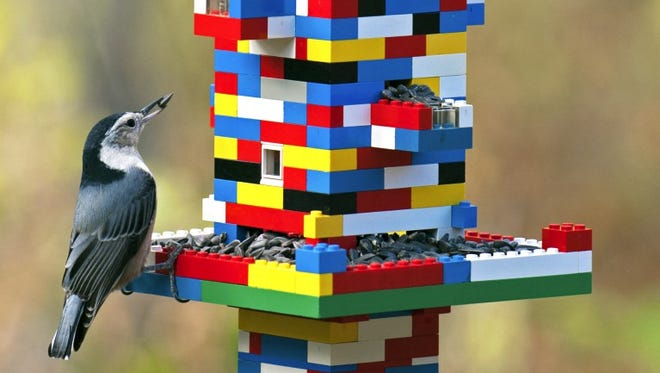 This impressive Lego bird feeder won a creative feeder photo contest.