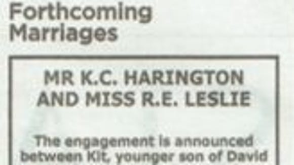 The Harington, Leslie engagement announcement in the