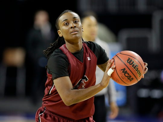 South Carolina guard Khadijah Sessions passes the ball during practice for of a regional semifinal women's college basketball game in the NCAA Tournamen on Thursday.