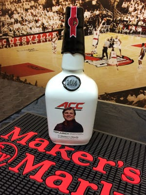 The commemorative Maker's Mark bottle unveiled by U of L on Tuesday.