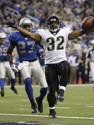 """Former Jacksonville Jaguars running back Maurice Jones-Drew celebrates a 6-yard touchdown run on Nov. 9, 2008, against the Detroit Lions. Jones-Drew is this week's guest on the weekly sports podcast """"Not Just a Game,"""" and he talks about Jacksonville's newest running back star, James Robinson of Rockford."""