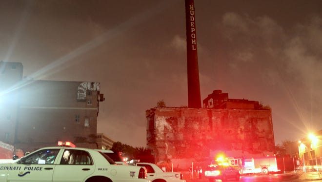 A Northern Kentucky University student fell down an open elevator shaft in the old Hudepohl Brewery building, police said.