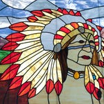 A stained glass window in the Administration building on the Tulare Union High School campus on Thursday, October 15, 2015.