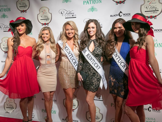 Members of Miss Kentucky walk the red carpet at the