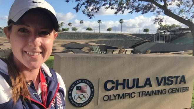 Sara (Doebel) Breidigan volunteered to work with U.S. Olympic athletes at Chula Vista during the spring.