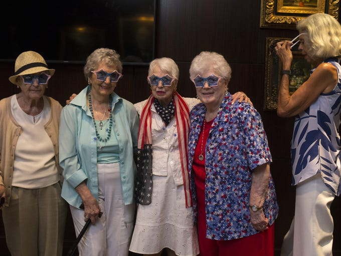 The over 90s lunch bunch, from left: Helene Gay, 95,