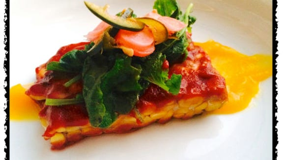 Plum and Jalapeño Glazed Tempeh with Picked Radishes and Butternut Squash Purée