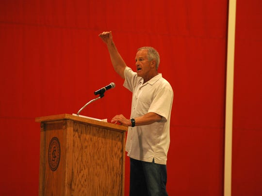 Longtime Simpson College pitching coach Joe Blake was gives a speech during the Student-Athlete Advisory Committee awards banquet in 2012.
