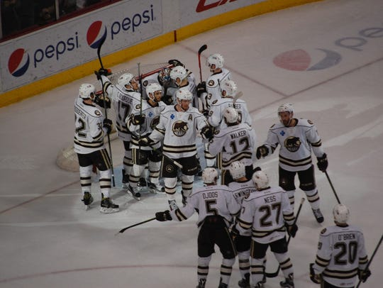The Hershey Bears celebrate their 2-0 victory over
