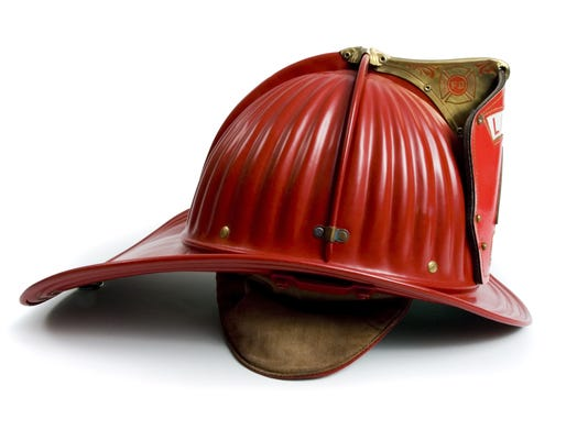 Firefighters helmet on a white background