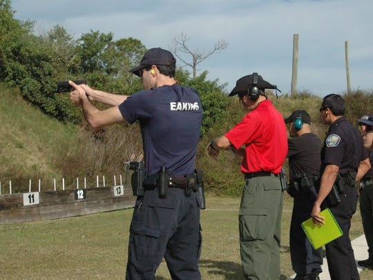 Police officers undergo training at a Palm Bay gun