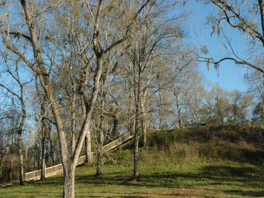 Steps leading up to Mound 3 at Lake Jackson Mounds Archaeological State Park.