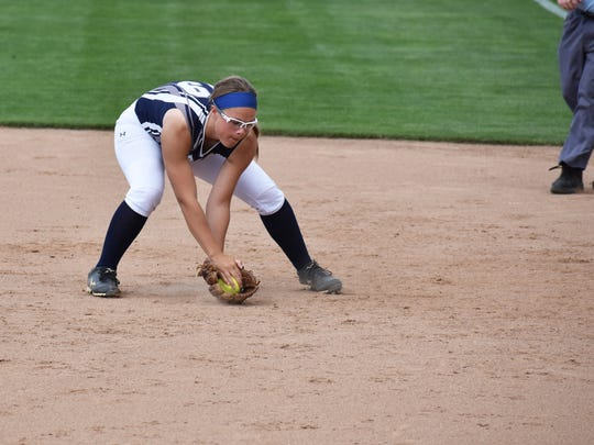 Chambersburg's Sammie Bender scoops up a ground ball