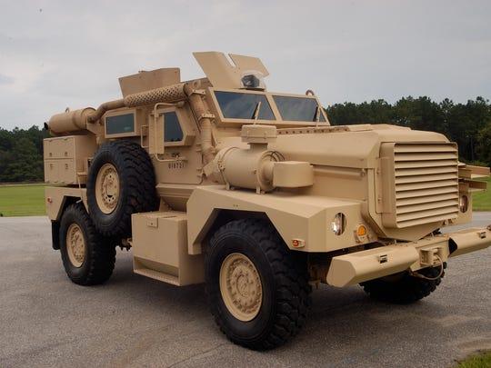 A mine resistant ambush protected (MRAP) vehicle
