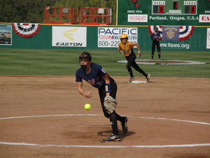 Canal's Brooklyn Richardson pitches in the first inning