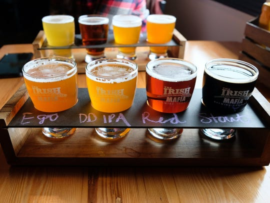 A beer flight at The Irish Mafia Brewing Company, a